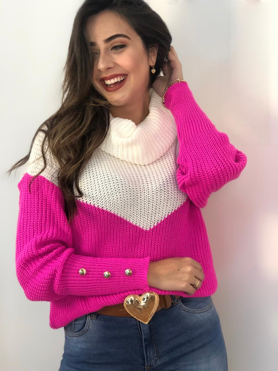 Blusa Gola Boba Lolla Pink em Tricot
