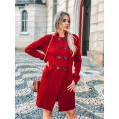Trench Coat Lã Vermelho Queimado em Tricot