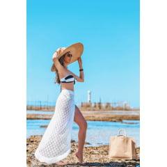 Saia de Praia Rendada Rayon Branca em Tricot