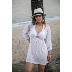 Saída de Praia 3/4 Flare Branca em Tricot