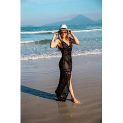Saída de Praia Madrepérola com Botão Preta em Tricot