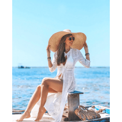 Saida de Praia com Fenda Longa Branca em Tricot