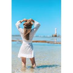Saída de Praia Rayon Kimono Branca em Tricot